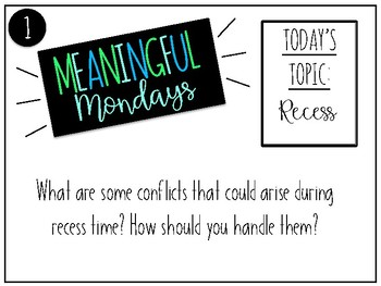Classroom Meetings / Morning Meetings - Meaningful Mondays