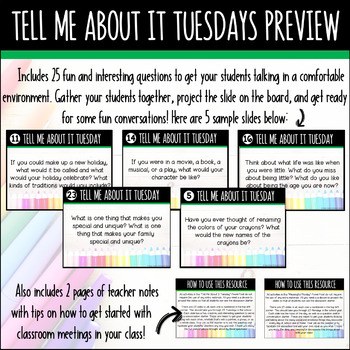 Classroom Meetings / Morning Meetings - Tell Me About It Tuesdays