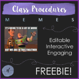 Classroom Procedures Using Memes: Editable