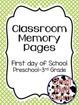 Classroom Memory Pages-First Day of School  #TeachersAreWinners