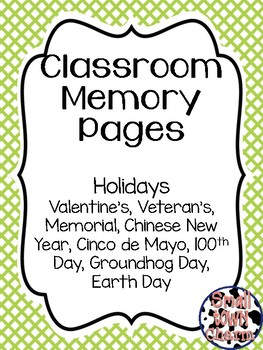 Classroom Memory Pages-Holidays