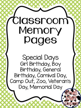 Classroom Memory Pages-Special Days