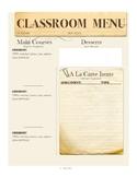 Classroom Menus - Centers Alternative Classroom Management Strategy