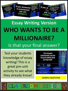 Classroom Millionaire (Essay Writing Version) Trivia Game