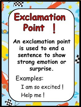Grammar Posters-Parts of Speech, Punctuation Marks with a Race Car Theme