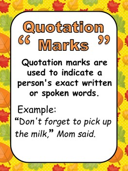 Grammar Posters-Parts of Speech, Punctuation Marks with an Autumn Theme