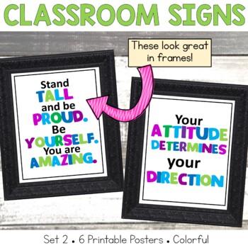 Classroom Mini Posters Set 2 Green, Blue and Purple