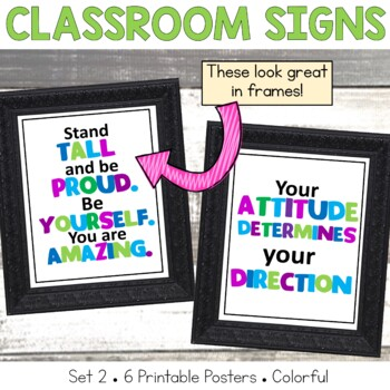 Classroom Mini Posters Set 2 Green, Blue and Purple