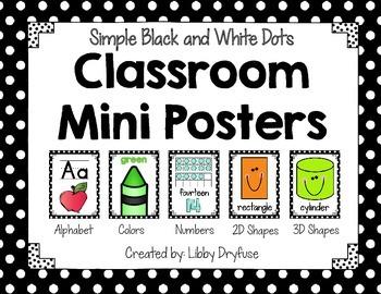 Classroom Mini Posters {Simple Black & White Dots}