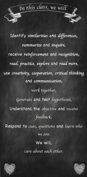 Classroom Mission Statement: Chalkboard Theme EDITABLE