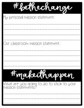 Classroom Mission Statement FREEBIE