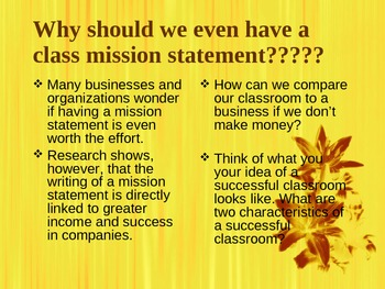 Classroom Mission Statement PowerPoint