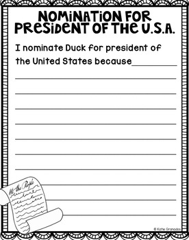 Classroom Mock Election for President with Fictional Characters - Election Day