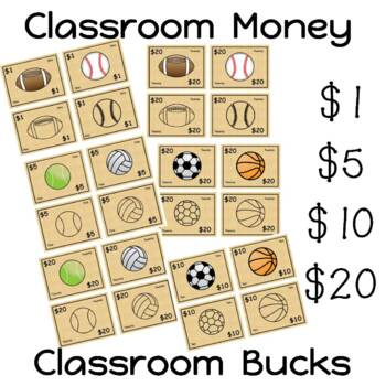 Sports Theme Classroom Money - Classroom Bucks - Behavior Bucks