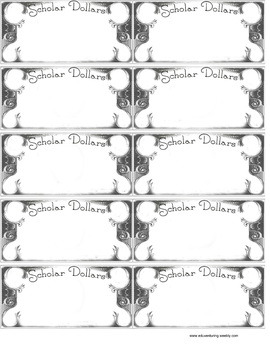 Classroom Money- Classroom Economy -Scholar Dollars money template