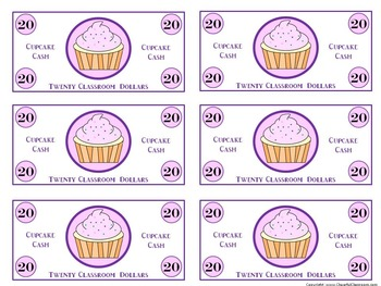 Classroom Money (Cupcake Cash Rewards, Classroom Management, and Currency)