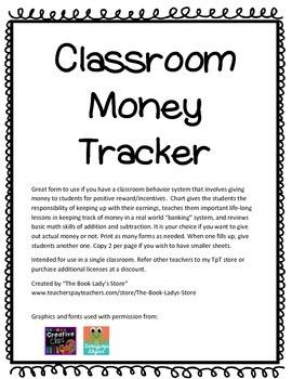 Classroom Money Tracking Sheet