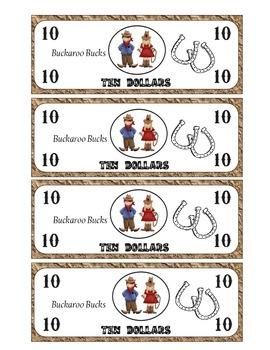 Classroom Money Western Themed- 10 Dollar Bucks