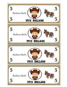 Classroom Money Western Themed- 5 Dollar Bucks