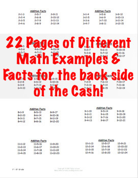 Classroom Money with Math Facts on the Back Side with Editable Portions