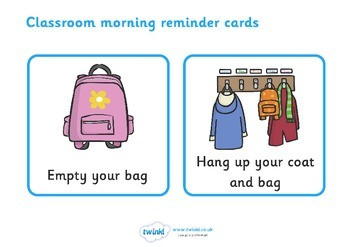 Classroom Morning Reminder Cards
