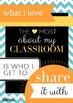 "Classroom Motivational Poster: ""What I love most about my classroom"""