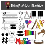Classroom Music Instrument Clip Art- 40 Images- Color and Black Line