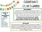 Classroom Must Haves *Personalize*