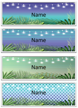 Classroom Name Labels Tropical Editable bright natural blackboard backgrounds