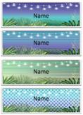 Classroom Name Labels Tropical Editable bright natural bla