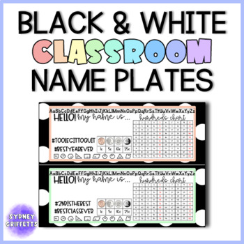Classroom Name Plates for GRADES K - 5 in Black Polka Dots