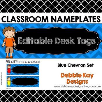 Classroom Nameplates (Editable Desk Tags) Blue Chevron