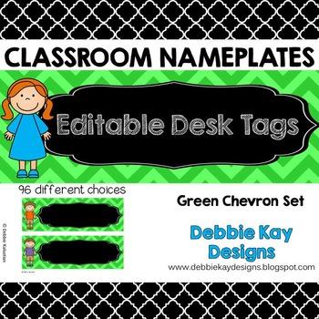 Classroom Nameplates (Editable Desk Tags) Green Chevron
