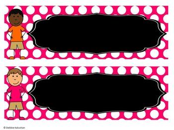 Classroom Nameplates (Editable Desk Tags) Pink Polka Dot