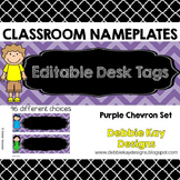 Classroom Nameplates (Editable Desk Tags) Purple Chevron