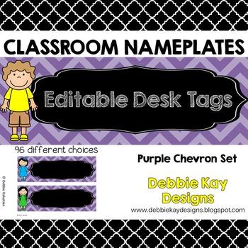 Classroom Nameplates (Editable Desk Tags) Purple Chevron