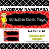 Classroom Nameplates (Editable Desk Tags) Red Chevron