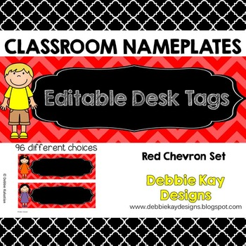 Classroom Nameplates (Editable Desk Tags) Red Chevron