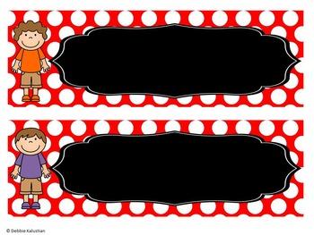 Classroom Nameplates (Editable Desk Tags) Red Polka Dot