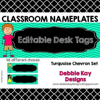 Classroom Nameplates (Editable Desk Tags) Turquoise Chevron