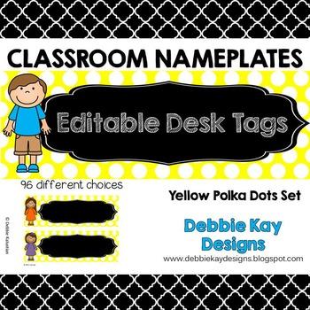 Classroom Nameplates (Editable Desk Tags) Yellow Polka Dot