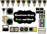 Classroom Decor Set~Rainbow Brights and Black~ EDITABLE signs, banner and more!
