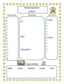 Classroom Newletter **Editable**