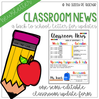Classroom Newsletter - Back to School Theme