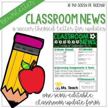 Classroom Newsletter - Soccer Theme