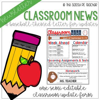 Classroom Newsletter - Baseball Theme