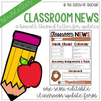 Classroom Newsletter - Baseball Theme (Orange & Black)