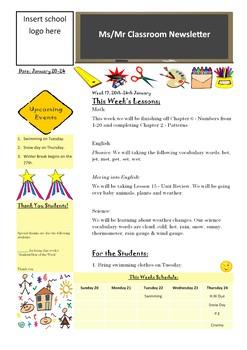 Classroom Newsletter Basic Template
