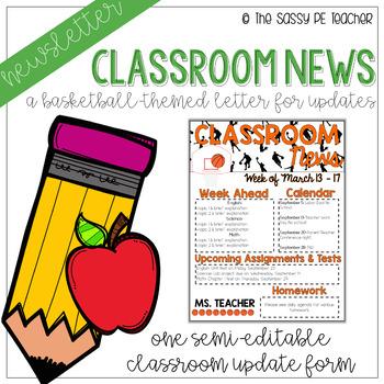 Classroom Newsletter - Basketball