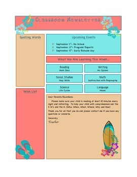 Classroom Newsletter (Beach/Surf Theme EDITABLE)
